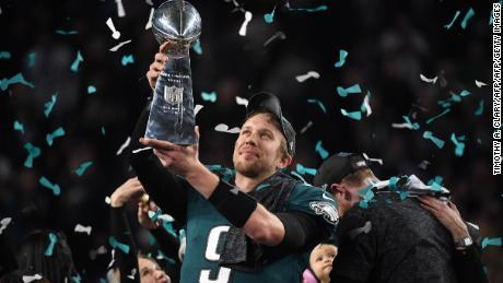 Philadephia Eagles quarterback Nick Foles celebrates after winning Super Bowl LII against the New England Patriots at US Bank Stadium in Minneapolis, Minnesota, on February 4, 2018. The Eagles won 41-33 / AFP PHOTO / TIMOTHY A. CLARY        (Photo credit should read TIMOTHY A. CLARY/AFP/Getty Images)