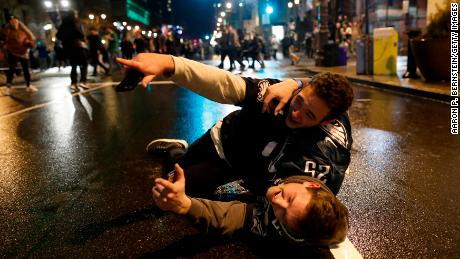 Fans celebrate after the Philadelphia Eagles won the Super Bowl.