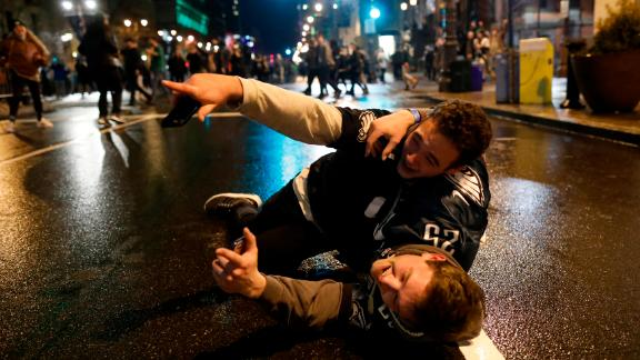 Fans celebrate after the Philadelphia Eagles won the Super Bowl.