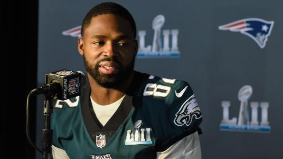 \Torrey Smith #82 of the Philadelphia Eagles speaks to the media during Super Bowl LII media availability on January 31, 2018 at Mall of America in Bloomington, Minnesota.