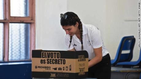 Valeria Gonzalez, 19, votes for the first time, at the Porfiro Brenes school in Moravia, San Jose, on February 4, 2018.  Polling stations opened in Costa Rica on Sunday for the first round of the Central American country's presidential election, which is being buffeted by a debate on gay marriage. / AFP PHOTO / Carlos GONZALEZ        (Photo credit should read CARLOS GONZALEZ/AFP/Getty Images)