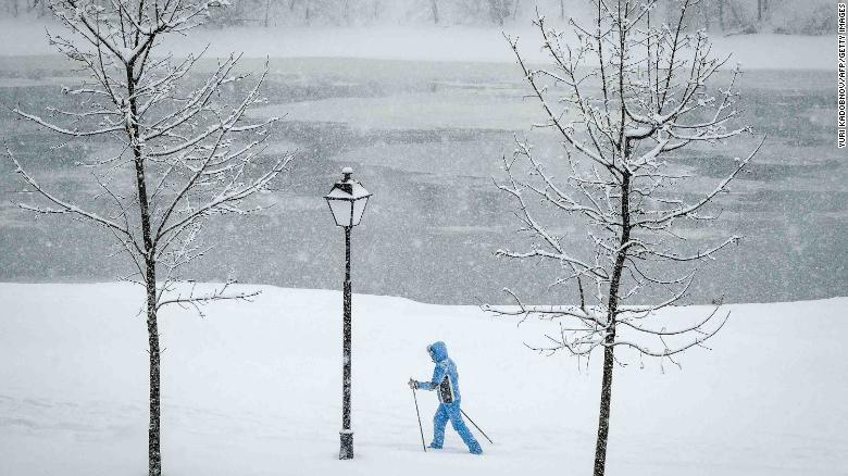 A woman skis on the grounds of the Kolomenskoye estate in Moscow.