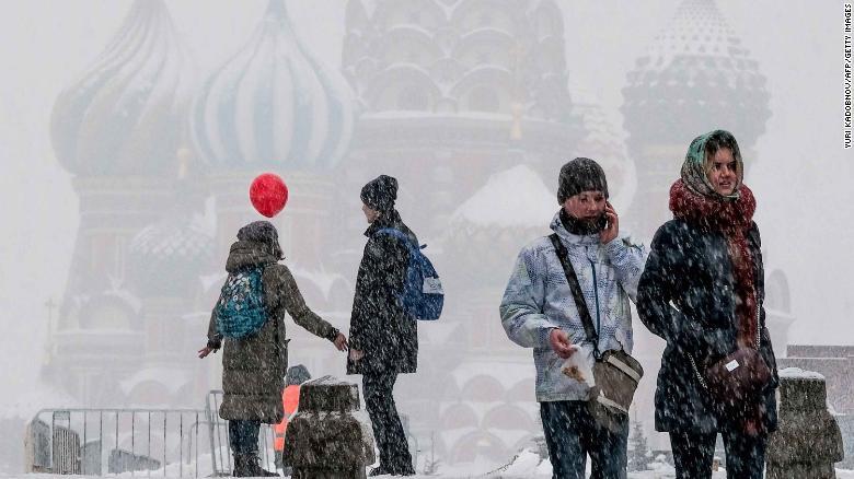 People walk through Red Square in Moscow over the weekend.
