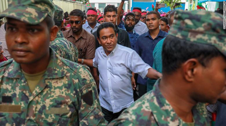Maldivian President Abdulla Yameen Abdul Gayoom, center, addressed his supporters Saturday.