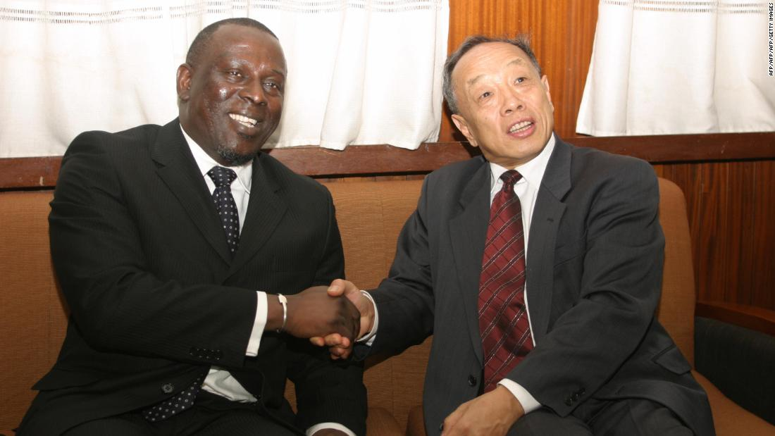 Li Zhaoxing, who was Chinese foreign minister between 2003 and 2007, with Cheikh Gadio in 2006 in Dakar.