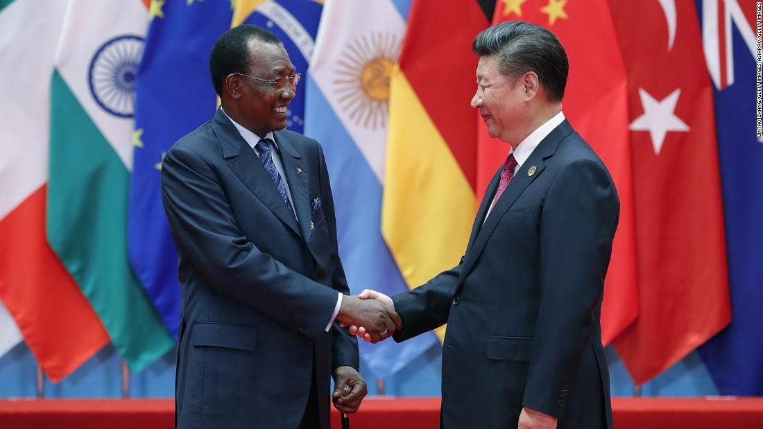 Chinese president Xi Jinping (right) shakes hands with the president of Chad, Idriss Deby, at the G20 Summit in Hangzhou, in 2016.