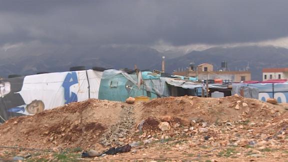 Denied proper refugee camps, many Syrian refugees live in informal tented settlements.