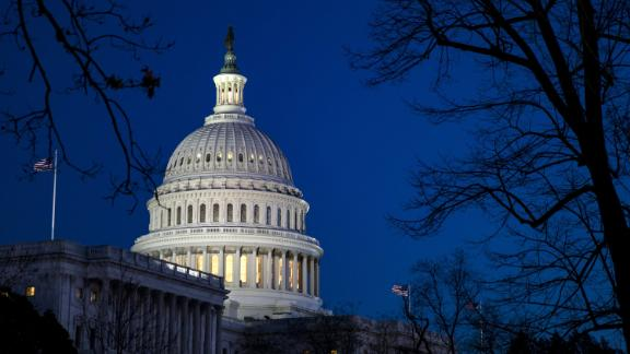 WASHINGTON, USA - January 30: The U.S. Capitol building in the twilight before President Donald Trump gives his first State of the Union address to Congress and the country in Washington, United States on January 30, 2018. (Photo by Samuel Corum/Anadolu Agency/Getty Images)