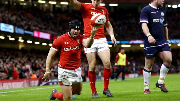 Leigh Halfpenny scored two tries for the rampant Welsh.