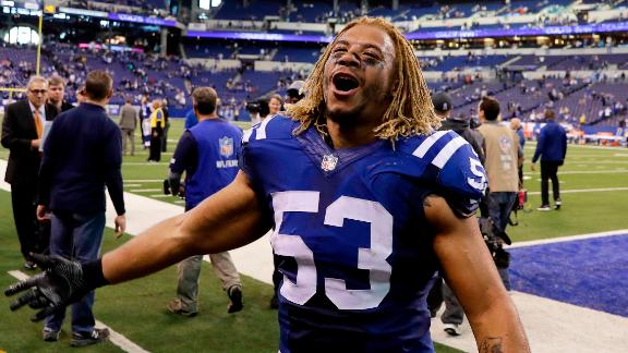 """FILE - In this Nov. 20, 2016 file photo, Indianapolis Colts linebacker Edwin Jackson (53) walks off the field following an NFL football game against the Tennessee Titans in Indianapolis. Jackson, 26, was one of two men killed when a suspected drunken driver struck them as they stood outside their car along a highway in Indianapolis. The Colts said in a statement Sunday, Feb. 4, 3018, that the team is """"heartbroken"""" by Jackson's death. Authorities say the driver that struck them before dawn on Sunday tried to flee on foot but was quickly captured.  (AP Photo/Darron Cummings, File)"""