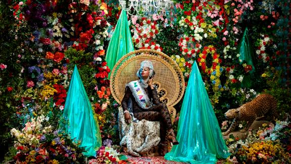 """""""Miss Azania, Exile is waiting"""" by Athi-Patra Ruga, was on display as part of the Pan-African exhibition during the African biennale, that took place at the Bamako National Museum throughout December and January. Created in 2015, it is part of Ruga's epic series, """"The Future White Woman of Azania,"""" that began in 2010."""