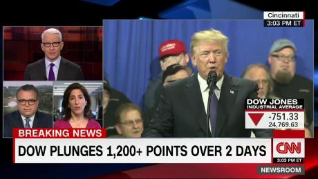 Trump's embarrassing split-screen moment on stocks