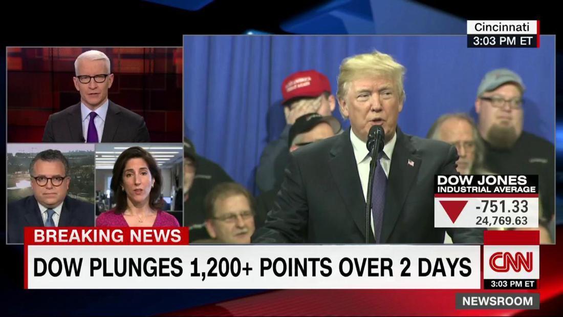 Trumps Embarrassing Split Screen Moment On Stocks Cnnpolitics