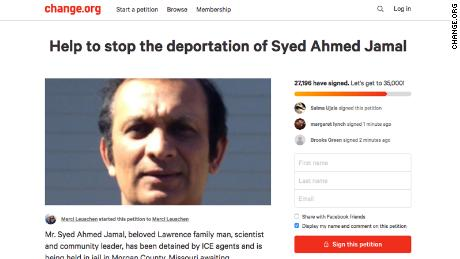 The Lawrence, KS community has rallied around Syed Ahmed Jamal, who is in custudy awaiting deportation. A Change,org petition has over 33,500 signatures
