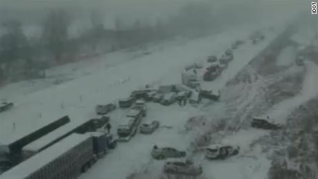 NS Slug: IA: 50 CAR PILEUP CLOSES HIGHWAY  Synopsis: A crash involving dozens of vehicles has forced the closure of I-35 southbound in Ames.  Keywords: IOWA I-35 AMES
