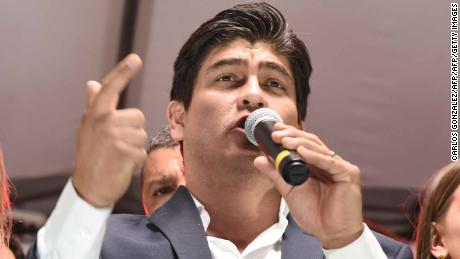 The presidential candidate of Costa Rica's governing Citizen Action Party (PAC), Carlos Alvarado speaks to his supporters during a rally after Costa Rica's presidential election in San Jose, Costa Rica February 4, 2018. / AFP PHOTO / CARLOS GONZALEZ        (Photo credit should read CARLOS GONZALEZ/AFP/Getty Images)