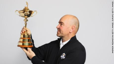 LONDON, UNITED KINGDOM - DECEMBER 07:  Thomas Bjorn poses with the Ryder Cup trophy as he is named 2018 Europe Ryder Cup Captain at Hilton Heathrow T5 on December 7, 2016 in London, England. The 2018 Ryder Cup will be held at Le Golf National in Guyancourt, France.  (Photo by Andrew Redington/Getty Images)