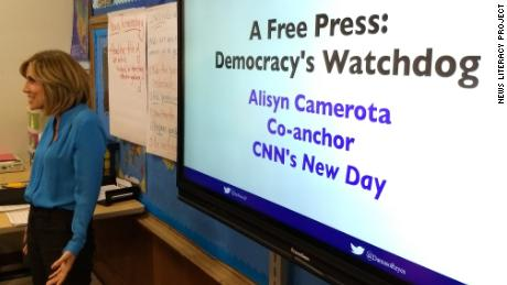Alisyn Camerota speaks to students at the Young Women's Leadership School in Astoria, Queens.
