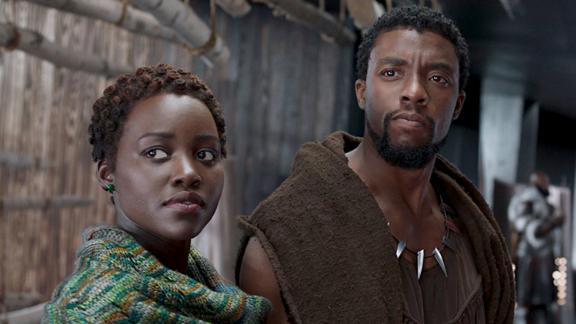 "Lupita Nyong'o and Chadwick Boseman star in the Marvel blockbuster ""Black Panther."""