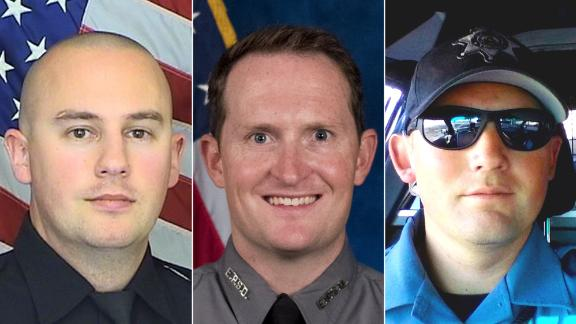Three Colorado sheriff's deputies -- Zackari Parrish, left, Micah Flick, center, and Heath Gumm -- have been shot and killed since New Year's Eve.