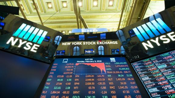 The closing numbers are displayed after the closing bell of the Dow Industrial Average at the New York Stock Exchange on February 5, 2018 in New York.  Wall Street stocks endured a brutal session Monday, with the Dow seeing one of its steepest ever one-day point drops, as the heady bullishness of early 2018 gave way to extreme volatility. / AFP PHOTO / Bryan R. Smith        (Photo credit should read BRYAN R. SMITH/AFP/Getty Images)