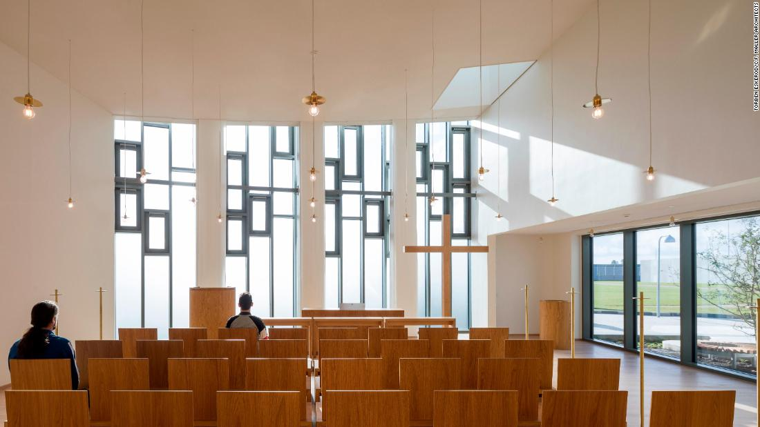 The chapel at Storstrøm prison is one of many facilities designed to help normalize the experience of inmates. The prison also has family facilities including a visitor section, playground, and visitor apartments where inmates can spend time with their partners and children.