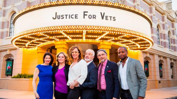 """Justice for Vets Senior Director Melissa Fitzgerald and """"West Wing"""" cast members Mary McCormick, Allison Janney, Brad Whitford, Richard Schiff and Dule Hill, in 2016."""