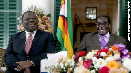 Tsvangirai (L)  and Mugabe (R) pictured in 2013.