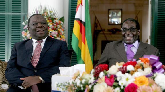 Tsvangirai (L)  and Mugabe (R) pictured in 2013.