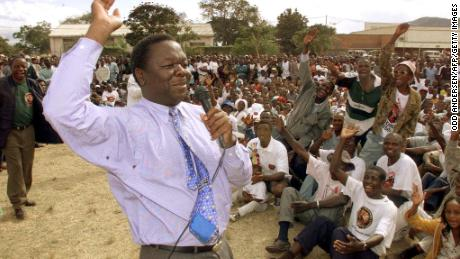 Tsvangirai addresses an MDC rally in Mutare in 2000.