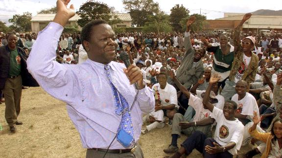 Tsvangirai addresses an MDC rally in Mutare in 2000.