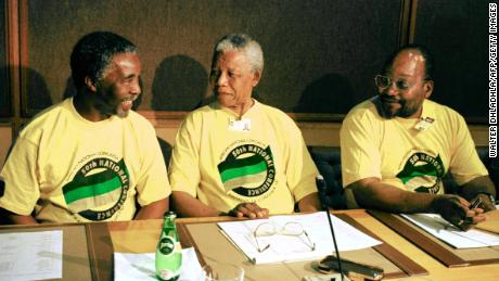 Zuma (R) pictured with then-President Nelson Mandela (C) and then-Deputy President Thabo Mbeki (L) in December 1997.