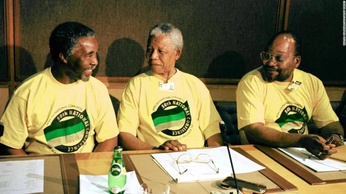 President Mandela is flanked by Zuma and Deputy President Thabo Mbeki, left, at the ANC's National Congress in 1997. At this conference, Mandela announced that he would be stepping down as president of the ANC and leaving it to Mbeki. Zuma would become the party's deputy president. After Mbeki was elected to be the country's President in 1999, Zuma was appointed as his deputy.