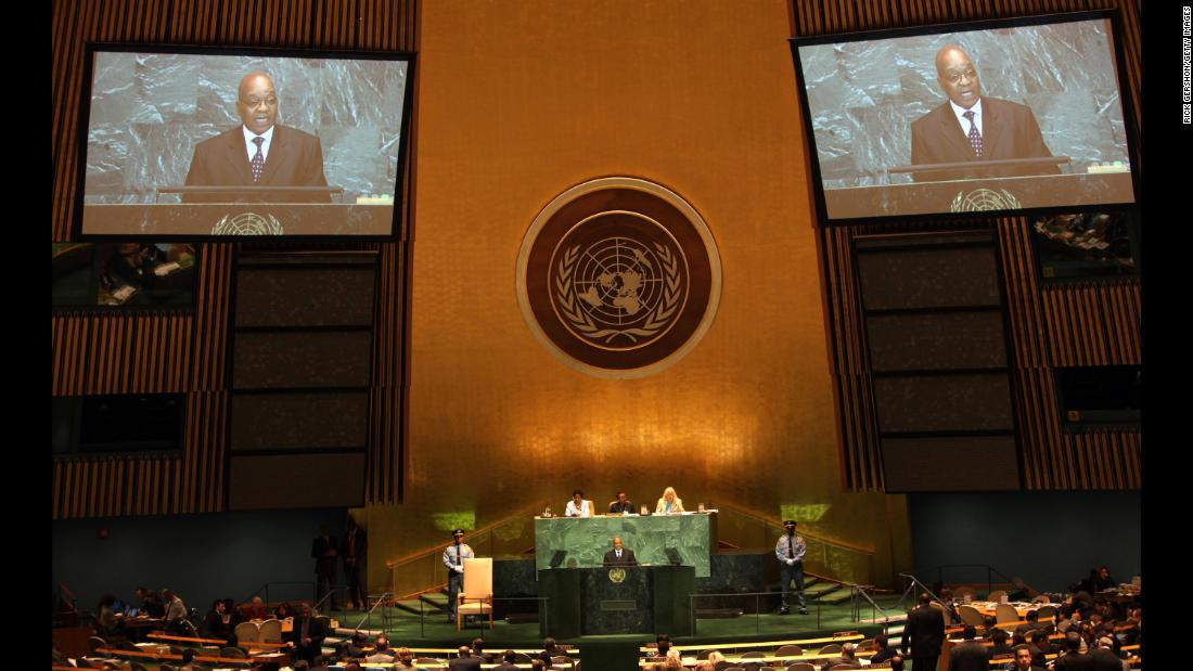 Zuma addresses the United Nations General Assembly in September 2009.