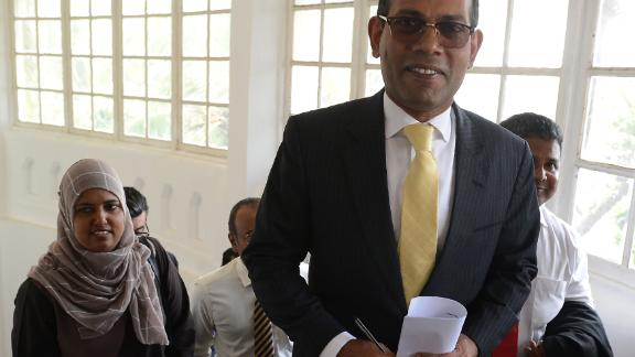 Former Maldives President Mohamed Nasheed arrives for a press conference in Colombo in January, where he accused China of a systematic land grab in his politically-troubled Indian Ocean archipelago and undermining its sovereignty.