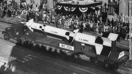 A Nike Zeus missile is showcased  President John F. Kennedy's inauguration parade.