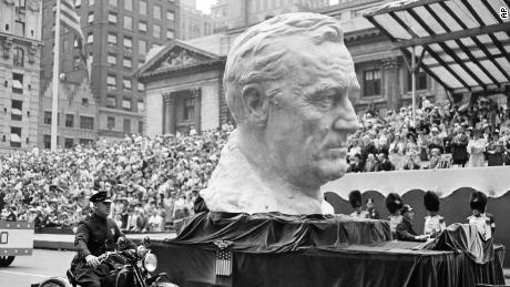 A float carried a huge bust of President Franklin Roosevelt in New York on June 13, 1942.
