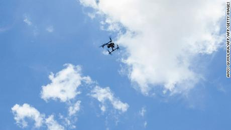 A drone captures images during a mapping exercise for cholera hotspots organised and funded by UNICEF (United Nations Children's Fund) Malawi in Likuni, outside Lilongwe, on January 27, 2018.  Malawi has been facing a cholera outbreak since late 2017 and UNICEF Malawi is making efforts to contain the outbreak.  / AFP PHOTO / AMOS GUMULIRAAMOS GUMULIRA/AFP/Getty Images