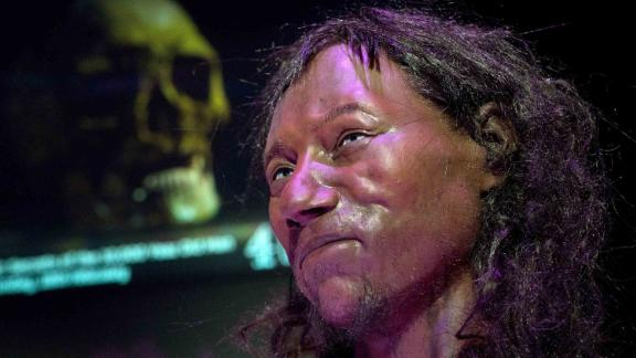 A facial reconstruction made from the skull of a 10,000 year old man, known as