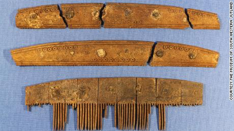 This 1,200-year-old comb was discovered by archaeologists during excavations of Ribe, an ancient market town in Denmark. The teeth would have fitted between the two connecting plates, now detached because the tiny iron nails have corroded.