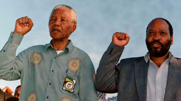 Zuma campaigns with ANC leader Nelson Mandela, left, during South Africa