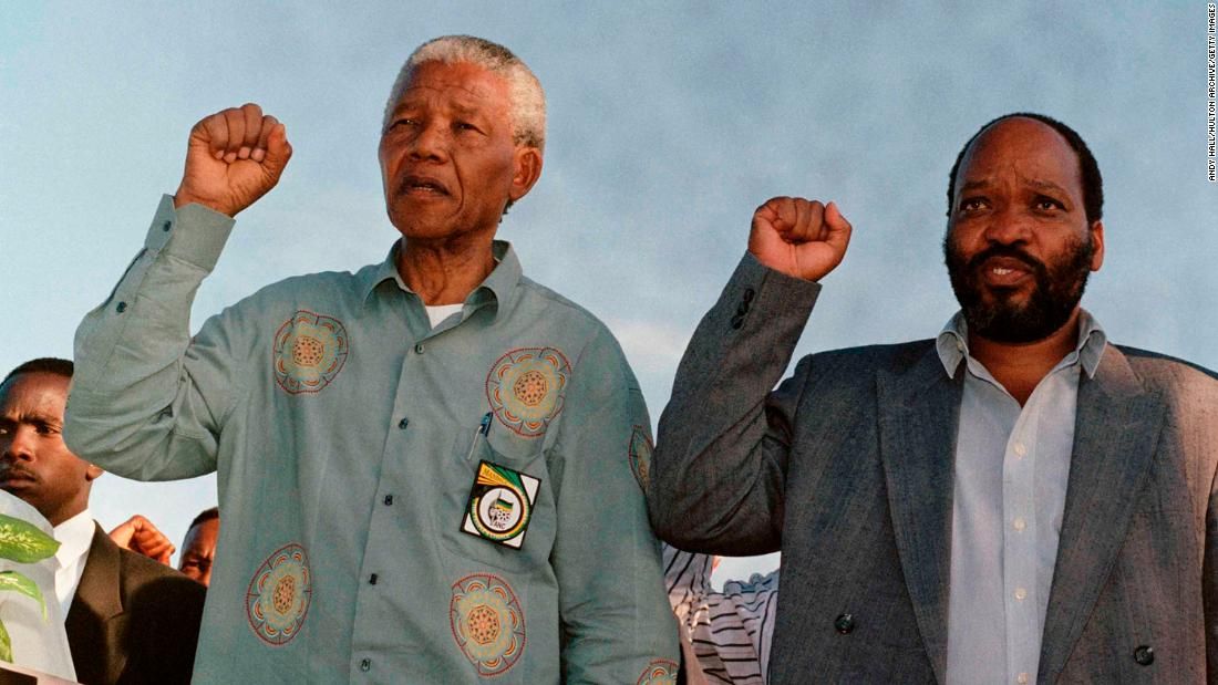 Zuma campaigns with ANC leader Nelson Mandela, left, during South Africa's first democratic elections in 1994. Mandela was elected President. Zuma became the ANC's national chairman later that year.
