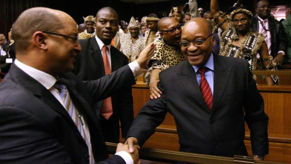 Zuma is congratulated by his attorney after his acquittal in May 2006.