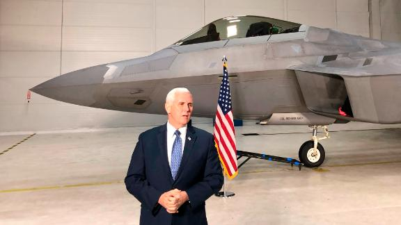 Vice President Mike Pence addresses the media in front of an F-22 at Joint Base Elmendorf-Richardson, Alaska, Monday, February 5.