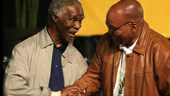 Zuma, right, is congratulated by Mbeki after defeating him to become the new president of the ANC in December 2007.