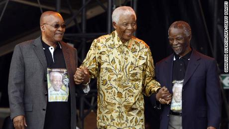 Jacob Zuma, from left, with Nelson Mandela and former South African President Thabo Mbeki on August 02, 2008, in Pretoria.