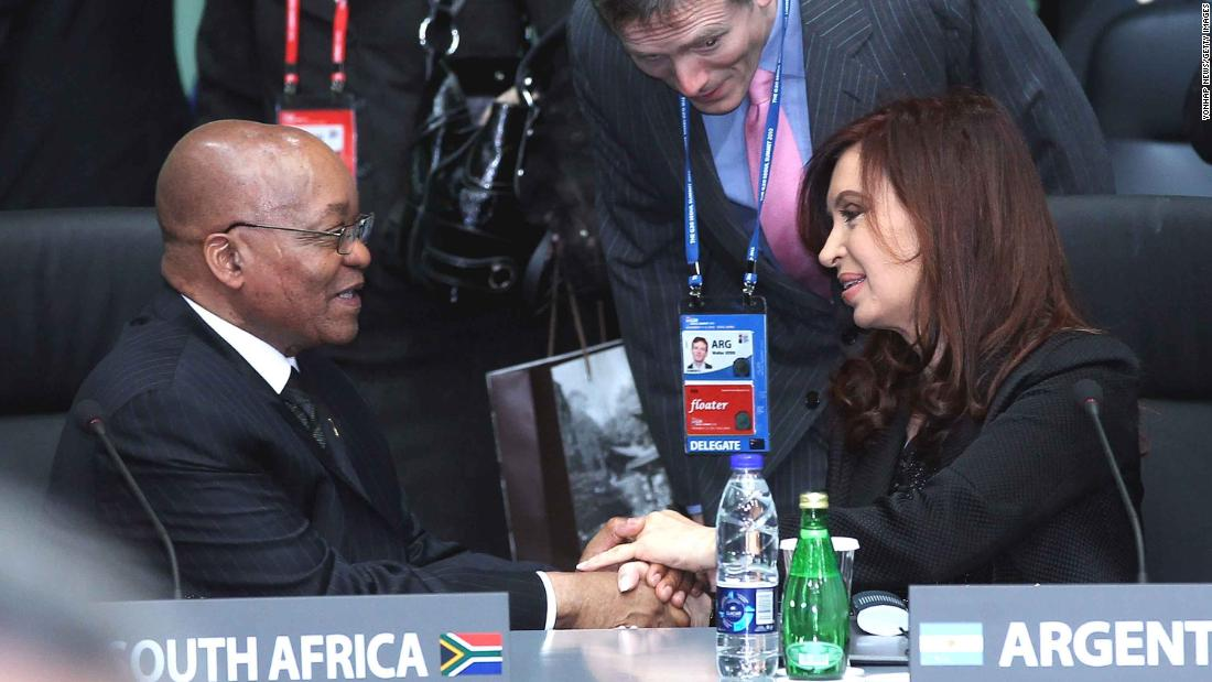 Zuma shakes hands with Argentine President Cristina Fernandez de Kirchner at a G20 Summit in Seoul, South Korea, in November 2010.