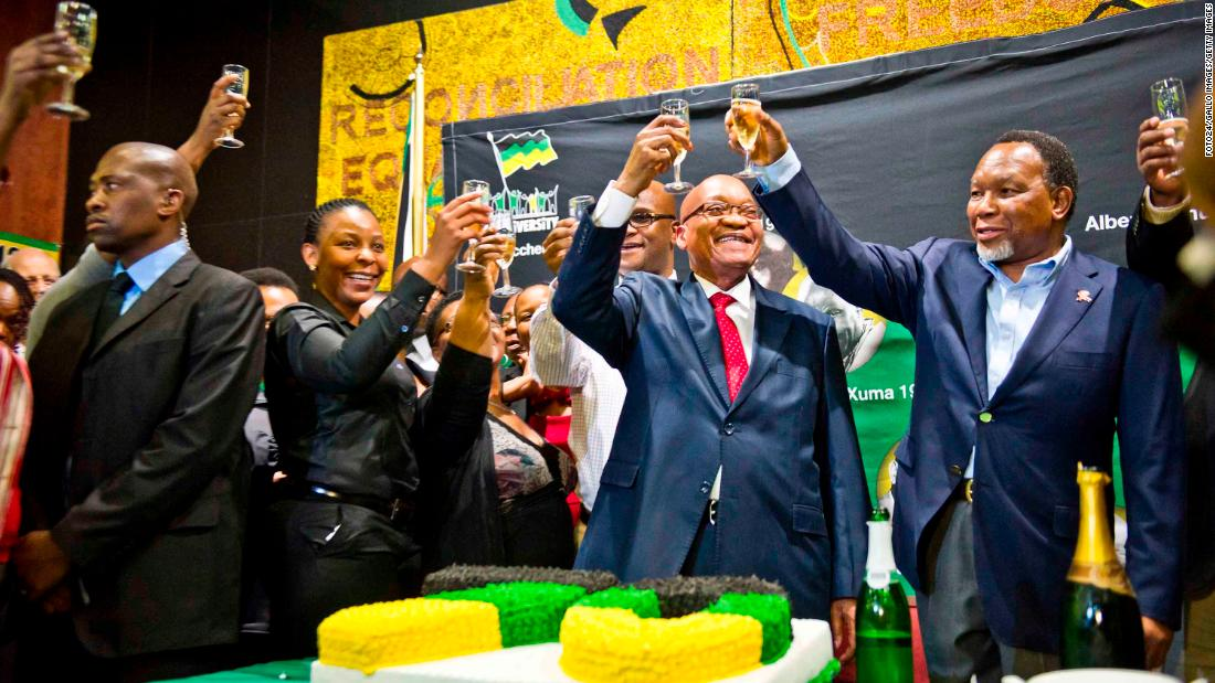 Zuma toasts his 70th birthday in April 2012.