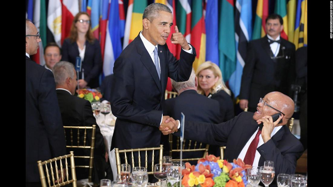 US President Barack Obama jokes with Zuma during a New York luncheon hosted by UN Secretary-General Ban Ki-moon in September 2015.