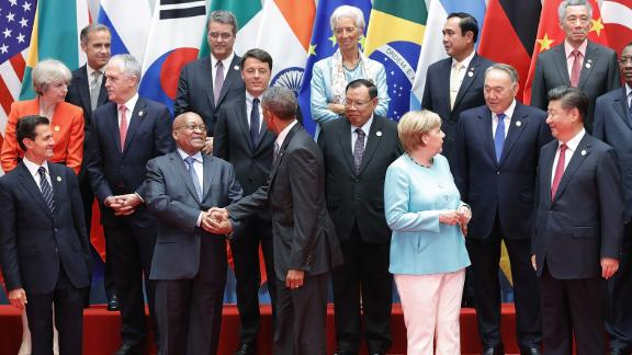 """Zuma and Obama shake hands before a group photo at the G20 Summit in Hangzhou, China, in September 2016. In November of that year, a report was published that contained <a href=""""http://www.cnn.com/2016/11/02/africa/south-africa-pretoria-zuma-protests/"""" target=""""_blank"""">corruption allegations against Zuma. </a>Zuma denied any wrongdoing. He also <a href=""""http://www.cnn.com/2016/11/10/africa/jacob-zuma-no-confidence-vote/"""" target=""""_blank"""">avoided a vote of no-confidence</a> in Parliament. It was the third time in less than a year that Zuma had faced such a vote."""